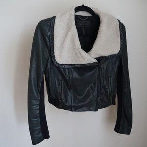 BCBG Leather/Fur Coat